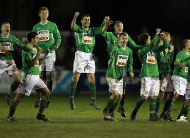 Bray players celebrate after the penalty shouut-out win at the Carlsisle grounds last night.