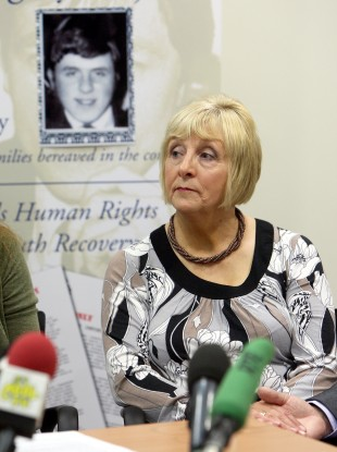 Margaret Duffy, twin sister of Billy McKavanagh, speaking at a press conference in Belfast about the the shooting of Billy in 1971.