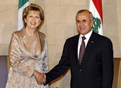 Lebanese President Michel Suleiman, right, shakes hands with President Mary McAleese