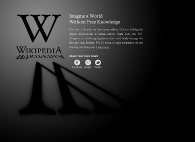 Wikipedia's blackout page appears when users access the site