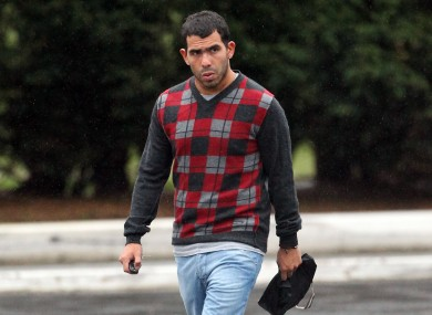 Tevez arriving at City's training complex last week.