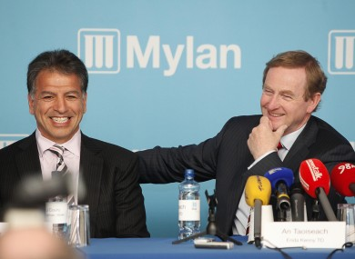 Enda Kenny with Mylan executive chairman Robert J Coury at the Mylan announcement in Baldoyle earlier today