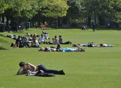 Students relaxing in Trinity College, Dublin