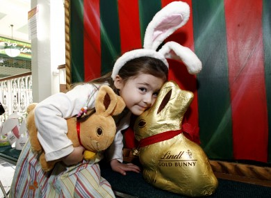 Layla Kenny from Terenure poses with a Lindt bunny in 2007. The European Court of Justice says Lindt can't trademark its gold bunny design throughout the EU.
