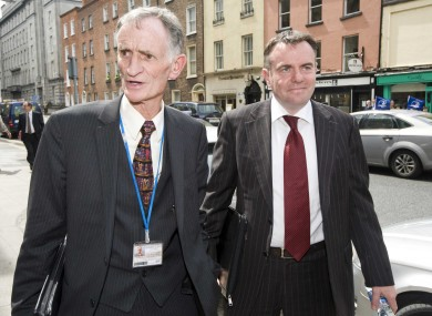 Chairman of the Board at RTE Tom Savage (left) and Director General Noel Curran arrive at Leinster House
