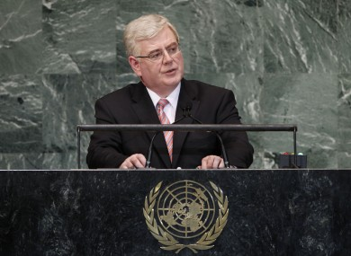 Eamon Gilmore addressing the General Assembly last night