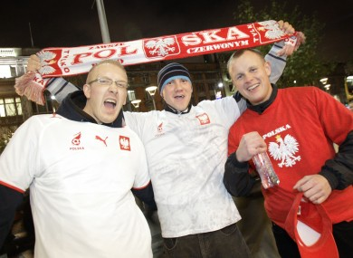 Polish football fans on O'Connell Street, Dublin.