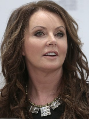 Sarah Brightman speaks during news conference in Moscow, Russia