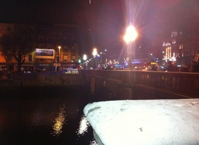 The scene at O'Connell Bridge last night