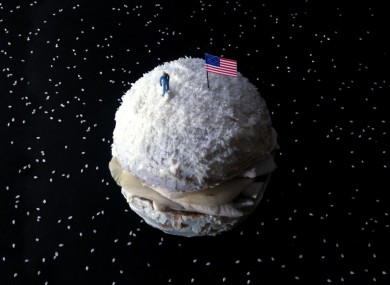 The Neil Armstrong Burger: mushrooms, pear, cream cheese, coconut dust (and sesame seeds for the galaxy)