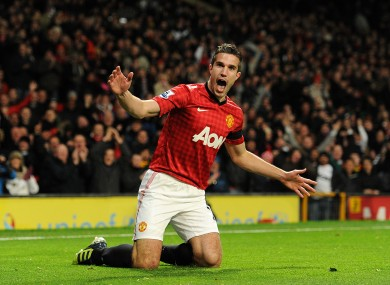 Manchester United's Robin van Persie celebrates scoring his side's first goal of the game.