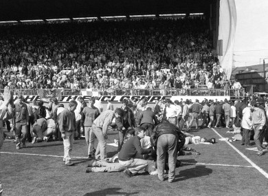 The scene at Hillsborough stadium in Sheffield on 15 April 1989.