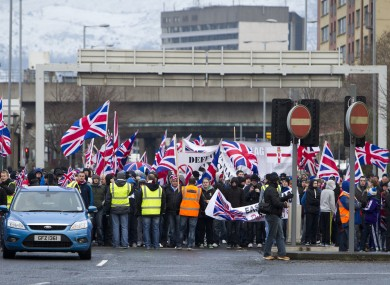 Loyalist protesters on Saturday