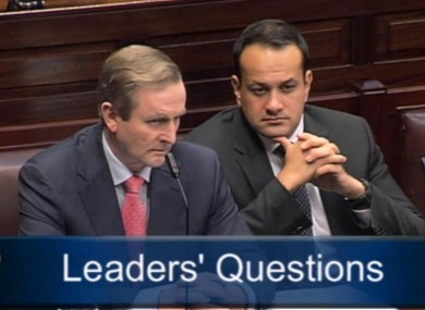 Taoiseach Enda Kenny and Transport Minister Leo Varadkar in the Dáil today