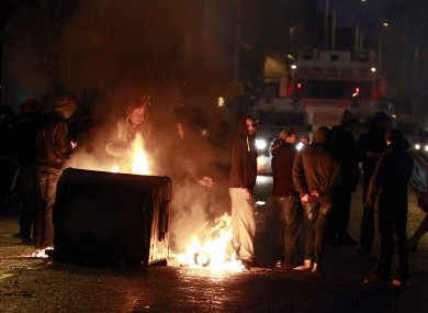 A burning barricade on the Newtownards Road area of Belfast last night