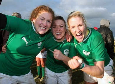 Ireland's Fiona Coghlan, Lynne Cantwell and Joy Neville celebrate after the game.