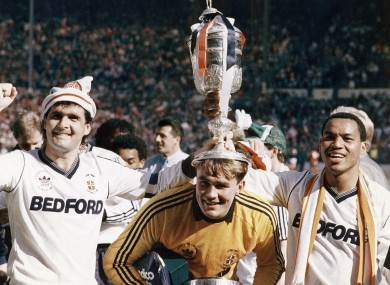 Luton Town celebrate their win over Arsenal in 1988.