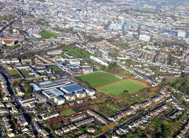 An aerial shot for the former Nemo Rangers site up for sale (outlined in red)