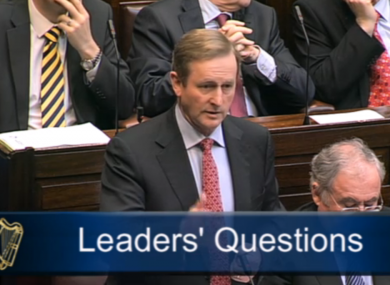 Enda Kenny in the Dáil this afternoon.