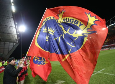 A giant Munster flag billows at Thomond Park.