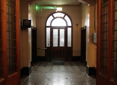 The front door and hallway of the now derelict Sisters of Our Lady of Charity Magdalene Laundry on Sean McDermott Street.