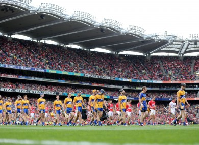 Cork and Clare players during the pre-match parade before their recent All-Ireland final.