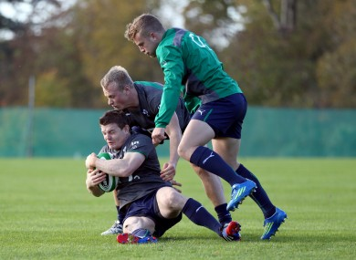 Brian O'Driscoll with Luke Marshall and Ian Madigan today.