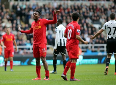 Daniel Sturridge celebrates scoring against Newcastle last season.