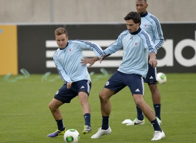 Germany's Mario Goetze, Mats Hummels and Jerome Boateng in training this week.