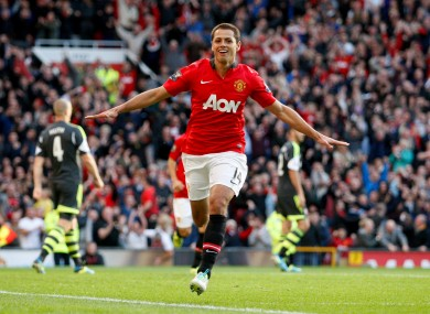 Manchester United's Javier Hernandez celebrates his goal.