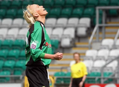 Roche celebrating a goal in last season's Womens National League Cup final at Tallaght Stadium.