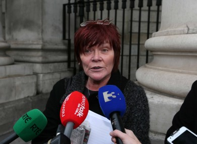 Independent TD Joan Collins speaks to the media as she leaves the High Court.