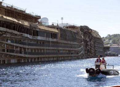 The Costa Concordia after it was lifted upright on 18 September