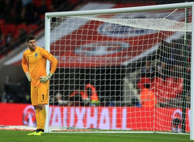 England's goalkeeper Fraser Forster looking dejected.