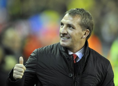 Thumbs up: Liverpool manager Brendan Rodgers.