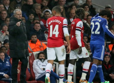 Mourinho during last night's 0-0 draw.