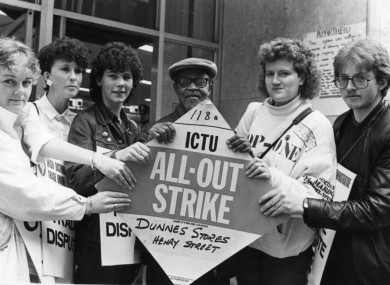 Four Dunnes workers - Sandra Griffen, Alma Bonnie, Karen Gearon and Mary Manning - with two anti-apartheid activists in May 1985.