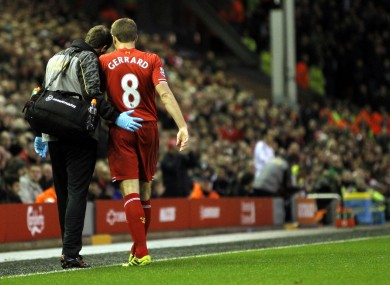 Steven Gerrard leaves the pitch during the West Ham game.