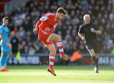 Southampton's Adam Lallana scores against Spurs recently.