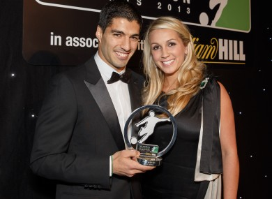 Player of the year Luis Suarez with his wife Sofia Balbi this week.