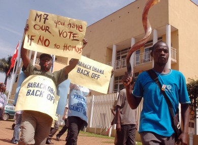 Members of the Uganda National Pastors Task Force Against Homosexuality demonstrate in 2009.