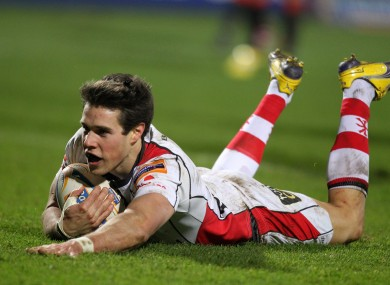 Adam D'Arcy scores a try against Edinburgh in 2012.
