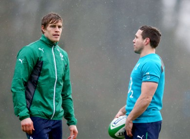 Andrew Trimble (left) chats to Isaac Boss at this morning's training session.