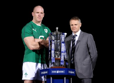 Ireland captain Paul o'Connell and coach Joe Schmidt pose with the Six Nations trophy.