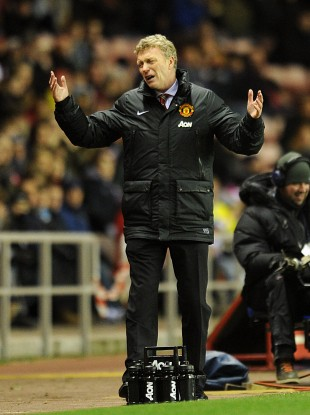 Man Utd boss David Moyes on the sideline last night.