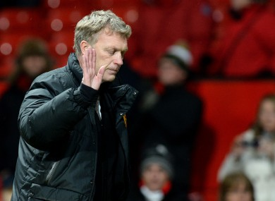 Moyes leaves the pitch after the defeat to Swansea yesterday.