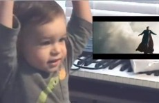 Cute baby gets incredibly excited watching Superman fly