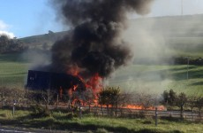 Security van bursts into flames in Wicklow