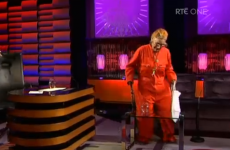 Margaretta D'Arcy appeared on the Saturday Night Show in her orange prison jumpsuit