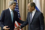 US Secretary of State John Kerry and his Russian counterpart Sergei Lavrov in Geneva today.